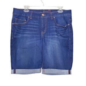 Faded Glory Roll Cuff Denim Jean Shorts Size 14